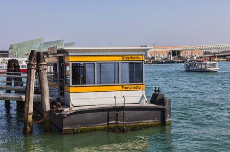 waterbus: Venice,Italy-February 26 2011  Image of the Vaporetto station Trochetto on February 26 2011 in Venice  Vaporetto is a waterbus specific for Venice   Editorial