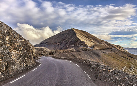 alpes maritimes: Image of the road to Cime de La Bonnette  2802m  which is the highest asphalted road in France and one of the highest road in Europe  It is located in the Mercantour National Park on the border of the departments of Alpes-Maritimes and Alpes-de-Haute-Prov