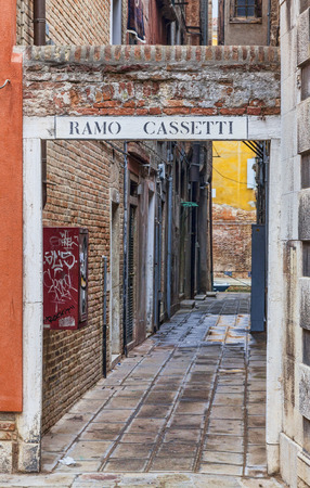 branched: Venice, Italy-February 19, 2012  Image of a specific narrow Venetian street   Ramo  is a generic name of typical smaller Venetian streets branching off of a larger street The other name represents the name of the street it is branched off of  Usually  Ram Editorial