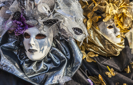 18th: Venice, Italy- February 18th, 2012 Portrait of a person in a traditional Venetian Mask during the Venice Carnival days
