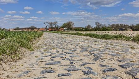 course cycliste: route Cobbelstone situ� dans le Nord de la France pr�s de Lille Sur ces routes chaque ann�e est organis� l'un des plus c�l�bre v�lo d'une journ�e course Paris-Roubaix