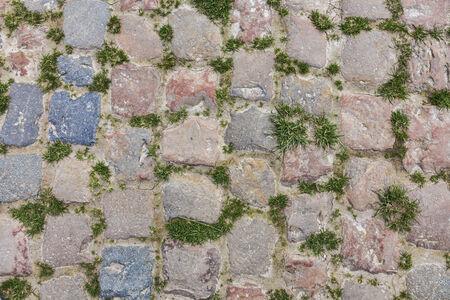 course cycliste: D�tail d'une route de cobbelstone situ� dans le Nord de la France pr�s de Lille Sur ces routes chaque ann�e est organis� l'un des plus c�l�bre v�lo d'une journ�e la course Paris-Roubaix