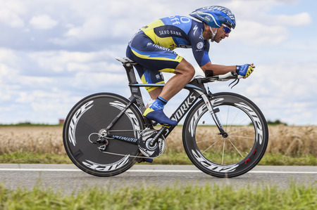 comp: Beaurouvre, France, July 21st 2012 The Portuguese cyclist Sergio Paulinho from  Team Tinkoff-Saxo pedaling during the 19th stage of Le Tour de France 2012, a time trial between Bonneval and Chartres  Zubeldia was on the 6th position in the end of the comp