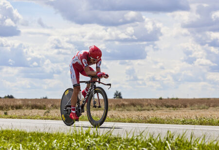 eduard: Beaurouvre,France,21st 2012 The Russian cyclist Eduard Vorganov from Team Katusha pedaling during the 19th stage of Le Tour de France 2012- a time trial between Bonneval and Chartres