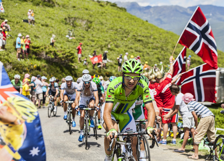 Col de Val Louron-Azet, France- July 07,2013  The Italian cyclist Alan Marangoni  Team  Cannondale in fornt of a group of cyclists, passing the Col de Val Lauron-Azet during the stage 9 of the 100 edition of Le Tour de France in 2013