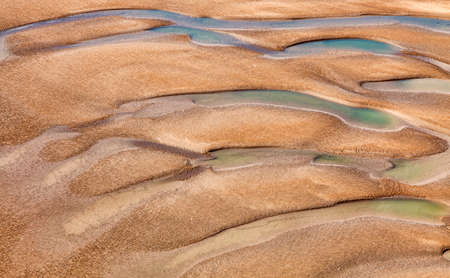estuary: Aerial detail of the esturay of river Seine  into the English Channel at Le Havre in Normandy, France