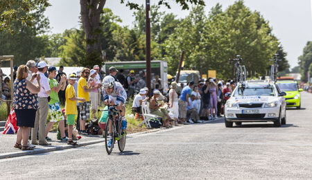 johannes: Le Mont Saint Michel,France-July 10, 2013: The German cyclist Johannes Fr?hlinger from Argos-Shimano Team cycling during the stage 11 of the edition 100 of Le Tour de France 2013, a time trial between Avranches and Mont Saint Michel.