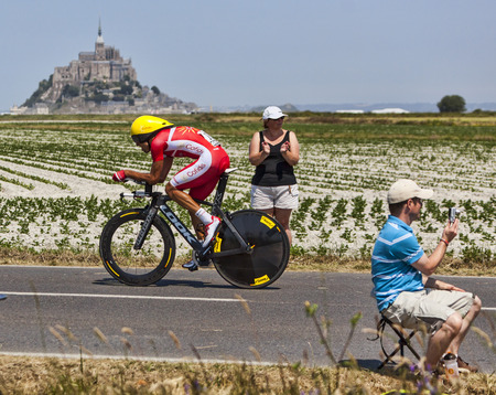 Le Pont Landais,France-July 10, 2013: The Spanish cyclist Luis Angel Mate Mardones from Cofidis Team cycling during the stage 11 of the edition 100 of Le Tour de France 2013, a time trial between Avranches and Mont Saint Michel.