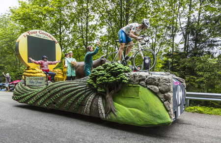 carrefour: Le Markstein, France- July 13, 2014:The fancy Carrefour Vehilce during the passing of the Publicity Caravan on mountain pass Le Markstein during the stage 9 of Le Tour de France 2014.