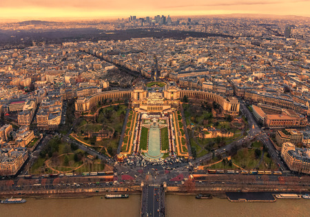 Sunset over Trocadero with the Palais de Chaillot seen from the Eiffel Tower in Paris,France. photo