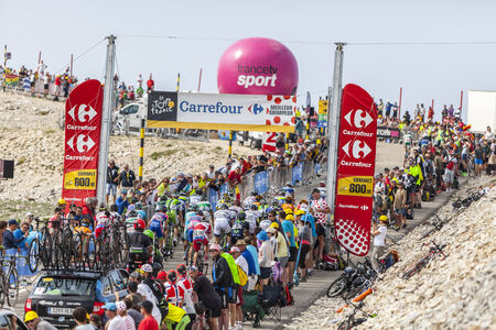 peloton: Le Mont Ventoux,France- July 14, 2013: The peloton climbing the last 800 meters on the road to Mount Ventoux during the stage 15 of the 100 edition of Le Tour de France on July 14 2013.