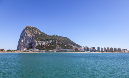 gibraltar: The western face of The Rock of Gibraltar in a beautiful summer day.