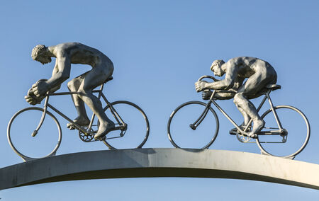 Soumoulou,France - July 23,2014: Detail of the monumental sculpture Tour de France in Pyrenees by Jean-Bernard Metais, located on the Area of the Pyrenees from the  A64 motorway  between Tarbes and Pau. The monument represents the ascensions of the ro
