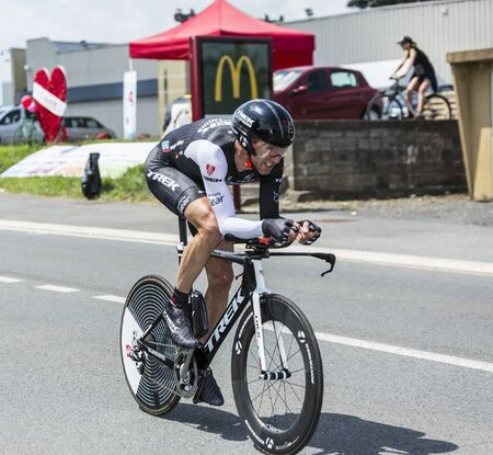 pedaling: Coulounieix-Chamiers, France - July 26, 2014: The German cyclist Jens Voigt (Trek Team) pedaling during the stage 20 ( time trial Bergerac - Perigueux) of Le Tour de France 2014. Editorial