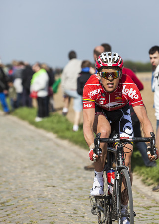 breen: CAMPHIN EN PEVELE,FRANCE-APR 13:The cyclist Vegard Breen from Lotto-Belisol riding on the cobblestone sector Carrefour de lArbre in Camphin-en-Pevele on April 13 2014 during Paris-Roubaix race Editorial