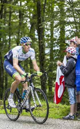hayman: Col de Platzerwasel,France - July 14, 2014: The cyclist Mathew Hayman of  Orica-GreenEDGE Team, climbing the mountain pass Platzerwasel in Vosges Mountains during the during the stage 10 of Le Tour de France 2014