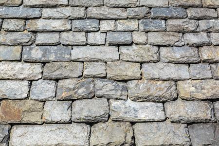 shingles: Primer plano imagen de un tejado de pizarra tradicional en Bretaña, Francia.