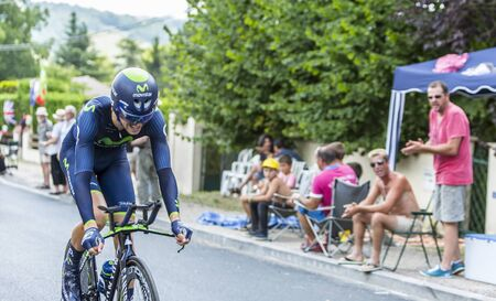 pedaling: Coulounieix Chamiers France  July 26 2014: The Spanish cyclist Jesus Herrada Lopez MovistarTeam pedaling during the stage 20  time trial Bergerac  Perigueux of Le Tour de France 2014. Editorial