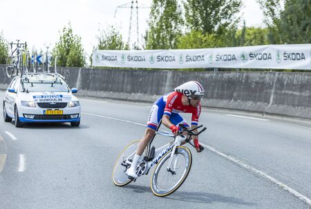 pedaling: Coursac France  July 26 2014: The Dutch cyclist Tom Dumoulin Team Giant Shimano pedaling during the stage 20  time trial Bergerac  Perigueux of Le Tour de France 2014.
