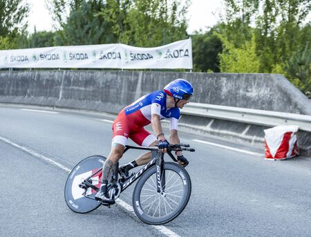 pedaling: Coursac France  July 26 2014: The French cyclist Sylvain Chavanel IAM Cycling Team  pedaling during the stage 20  time trial Bergerac  Perigueux of Le Tour de France 2014.