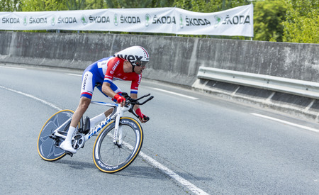 pedaling: Coursac France  July 26 2014: The Dutch cyclist Tom Dumoulin Team GiantShimano pedaling during the stage 20  time trial Bergerac  Perigueux of Le Tour de France 2014.