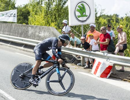 pedaling: Coursac France  July 26 2014: The Australian cyclist Richie Porte Team Sky pedaling during the stage 20  time trial Bergerac  Perigueux of Le Tour de France 2014.