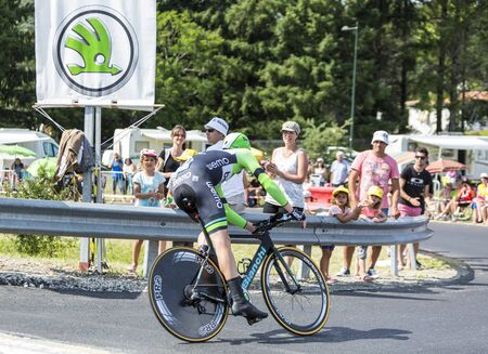 steven: Coursac France  July 26 2014: The Dutch cyclist Steven Kruijswijk  Belkin Pro CyclingTeam pedaling  during the stage 20  time trial Bergerac  Perigueux of Le Tour de France 2014. Editorial