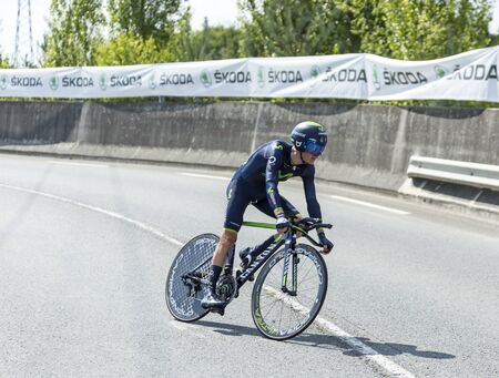pedaling: Coursac France  July 26 2014: The French cyclist John Gadret Movistar Team pedaling during the stage 20  time trial Bergerac  Perigueux of Le Tour de France 2014.