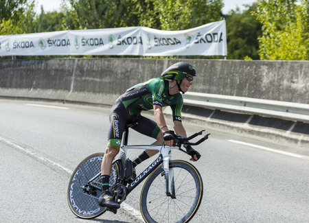pedaling: Coursac France  July 26 2014: The French cyclist Pierre Rolland  Europcar Team pedaling during the stage 20  time trial Bergerac  Perigueux of Le Tour de France 2014.