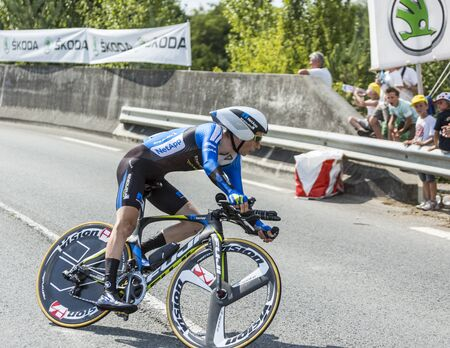 leopold: Coursac France  July 26 2014: The Czech cyclist Leopold Konig Team NetAppEndura pedaling during the stage 20  time trial Bergerac  Perigueux of Le Tour de France 2014. Editorial