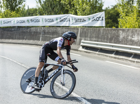 pedaling: Coursac France  July 26 2014: The Basque cyclist Haimar Zubeldia  Trek Team pedaling  during the stage 20  time trial Bergerac  Perigueux of Le Tour de France 2014. Editorial
