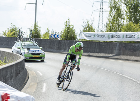 pedaling: Coursac France  July 26 2014: The Dutch cyclist Laurens Ten Dam  Belkin Pro CyclingTeam pedaling  during the stage 20  time trial Bergerac  Perigueux of Le Tour de France 2014.