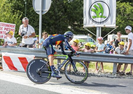 pedaling: Coursac France  July 26 2014: The Spanish cyclist Alejandro Valverde  Movistar Team pedaling during the stage 20  time trial Bergerac  Perigueux of Le Tour de France 2014.
