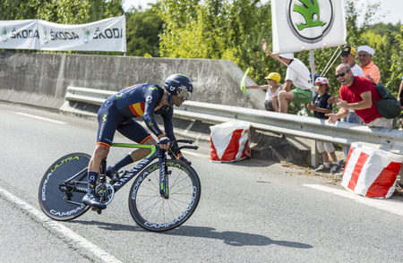 Coursac France  July 26 2014: The Spanish cyclist Alejandro Valverde  Movistar Team pedaling during the stage 20  time trial Bergerac  Perigueux of Le Tour de France 2014.