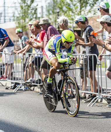 bystanders: Utrecht,Netherlands - 04 July 2015: The Slovak cyclist Peter Sagan of Tinkoff-Saxo Team riding during the first stage individual time trial  of Le Tour de France 2015 in Utrecht,Netherlands on 04 July 2015.
