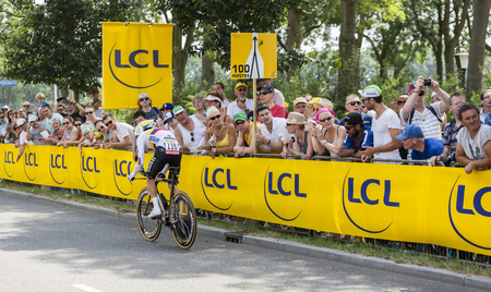 bystanders: Utrecht,Netherlands - 04 July 2015: The Colombian cyclist Rigoberto Uran Uran of Etixx-Quick Step Team riding during the first stage individual time trial  of Le Tour de France 2015 in Utrecht,Netherlands on 04 July 2015.