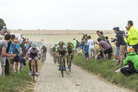 bystanders: Quievy,France - July 07, 2015: The peloton riding on a cobblestoned road during the stage 4 of Le Tour de France 2015 in Quievy, France, on 07 July,2015. Editorial