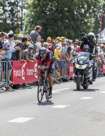 bystanders: Utrecht,Netherlands - 04 July 2015: The Belgian cyclist Greg Van Avermaet of BMC Racing Team riding during the first stage individual time trial  of Le Tour de France 2015 in Utrecht,Netherlands on 04 July 2015. Editorial