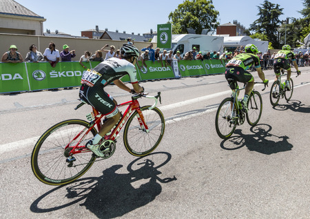 intermediate: Argentan, France - July 10, 2015: Julian Arredondo Moreno of Trek Factory Racing Team riding in the peloton after crossing the line of the intermediate sprint in Argentan during Tour de France on 10 July 2015.