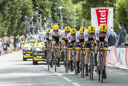 bystanders: Plumelec, France - 13 July, 2015: Team LottoNL Jumbo riding the Team Time Trial stage between Plumelec and Vannes, during Tour de France on 13 July, 2015.