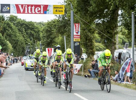 teammates: Plumelec, France - 13 July, 2015: Team Thinkoff Saxo riding the Team Time Trial stage between Plumelec and Vannes, during Tour de France on 13 July, 2015. Peter Sagan wears the Green Jersey.