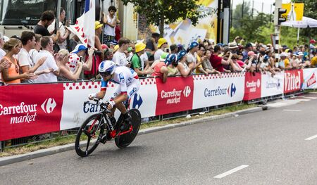 bystanders: Utrecht,Netherlands - 04 July 2015: The Polish cyclist Jeremy Roy of FDJ Team riding during the first stage individual time trial  of Le Tour de France 2015 in Utrecht, Netherlands on 04 July 2015. Editorial