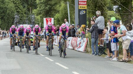 bystanders: Plumelec, France - 13 July, 2015: Team Lampre-Merida riding the Team Time Trial stage between Plumelec and Vannes, during Tour de France on 13 July, 2015.