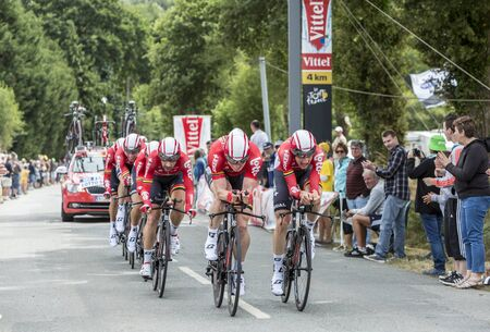 bystanders: Plumelec, France - 12 July, 2015: Team Lotto-Soudal riding the Team Time Trial stage between Plumelec and Vannes, during Tour de France on 12 July, 2015.