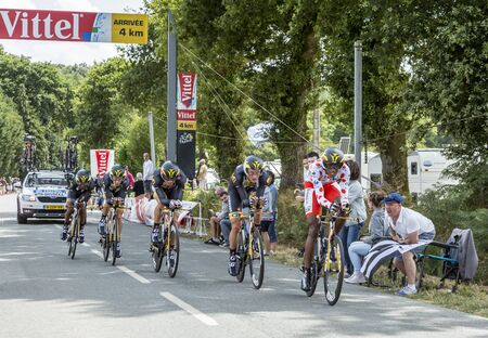 bystanders: Plumelec, France - 12 July, 2015: Team MTN-Qhubeka riding the Team Time Trial stage between Plumelec and Vannes, during Tour de France on 12 July, 2015.