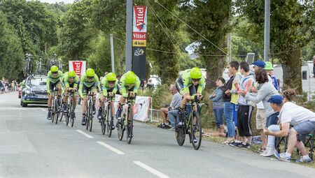 bystanders: Plumelec, France - 12 July, 2015: Team Cannondale-Garmin riding the Team Time Trial stage between Plumelec and Vannes, during Tour de France on 12 July, 2015. Editorial
