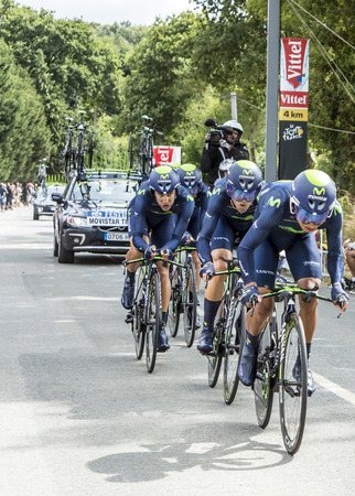 bystanders: Plumelec, France - 12 July, 2015: Team Movistar riding the Team Time Trial stage between Plumelec and Vannes, during Tour de France on 12 July, 2015. Editorial