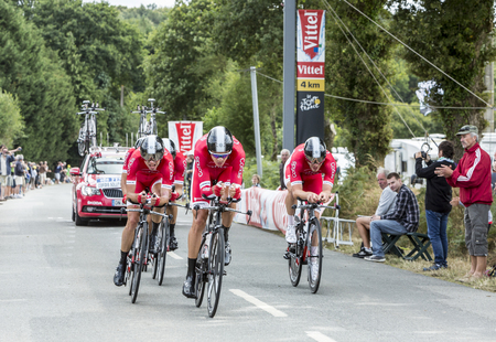 bystanders: Plumelec, France - 12 July, 2015: Team Cofidis, solutions credits  riding the Team Time Trial stage between Plumelec and Vannes, during Tour de France on 12 July, 2015.