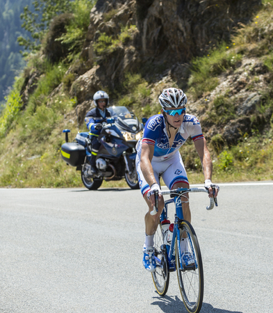 breakaway: Col DAspin,France- July 15,2015: The French cyclist Arnaud Demare of FDJ Team, climbing the road to Col DAspin  in Pyrenees Mountains during the stage 11 of Le Tour de France 2015. Editorial