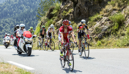 breakaway: Col DAspin,France- July 15,2015: The French cyclist Julien Simon leading the breakaway on the road to Col DAspin  in Pyrenees Mountains during the stage 11 of Le Tour de France 2015. Editorial